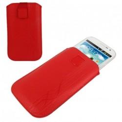 Funda diseño lineas pasador cinturon cierre velcro para tianhe h928 - roja