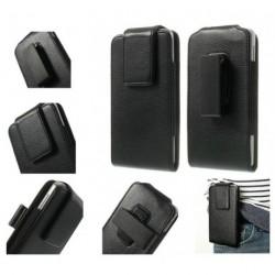 Funda cinturon con clip giratorio 360º piel sintetica para tianhe h9008 - negra