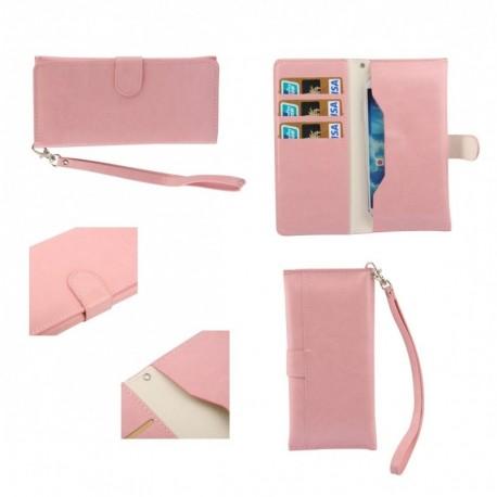 Funda piel sintetica con tarjetero y cierre por iman para - tianhe w9002 - rosa