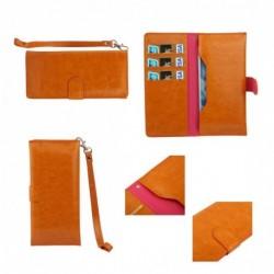 Funda piel sintetica con tarjetero y cierre por iman para tianhe w9002 - naranja