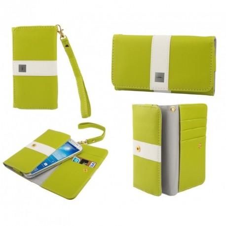 Funda premium diseño linea de color y tarjetero para - tianhe w9002 - pistacho