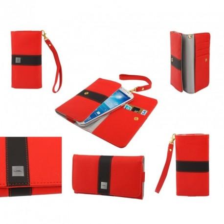 Funda premium diseño linea de color y tarjetero para - tianhe w9002 - roja