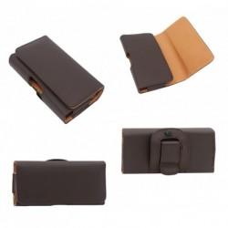 Funda cinturon clip horizontal piel sintetica premium para tianhe w9002 marron
