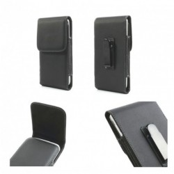 Funda cinturon con clip metalico vertical piel sintetica para - thl l969 - negra