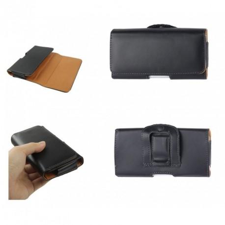 Funda cinturon clip horizontal piel sintetica lisa para - tianhe w900 - negra