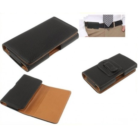 Funda cinturon clip horizontal piel sintetica premium para - tianhe w900 - negra