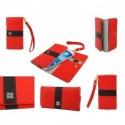 Funda premium diseño linea de color y tarjetero para - tengda s5 - roja
