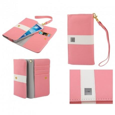 Funda premium diseño linea de color y tarjetero para - tengda s5 - rosa