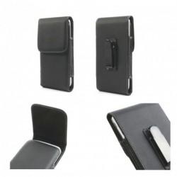 Funda cinturon con clip metalico vertical piel sintetica para Tecno P5 - Negra