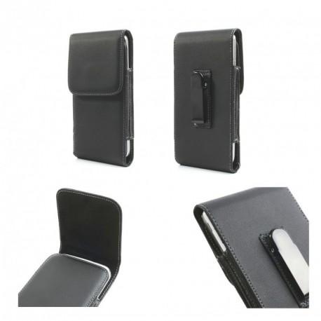 Funda cinturon con clip metalico vertical piel sintetica para Tecno M6 - Negra