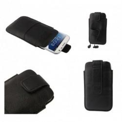 Funda poli piel con cierre por velcro y bolsillo delantero para Tecno L7 - Negra