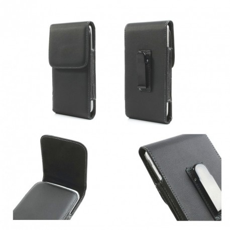 Funda cinturon con clip metalico vertical piel sintet para - tianhe w500 - negra