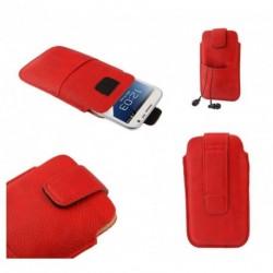 Funda poli piel con cierre por velcro y bolsillo delantero para Tecno L7 - Roja