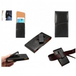 Funda Ejecutivo Cinturon con Clip Giratorio 360º poli piel para Tecno L7 - Negra