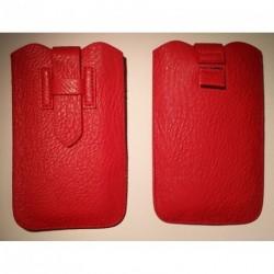 Funda poli piel con lazo extraccion y cierre de seguridad para tianhe w500 roja