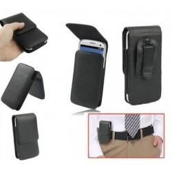 Funda cinturon con clip vertical piel sintetica premium para tianhe w450 negra