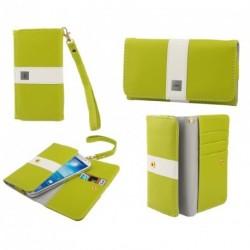 Funda premium diseño linea de color y tarjetero para - tianhe w450 - pistacho