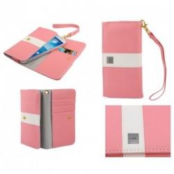 Funda premium diseño linea de color y tarjetero para - tianhe w450 - rosa