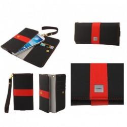 Funda premium diseño linea de color y tarjetero para - tianhe w450 - negra