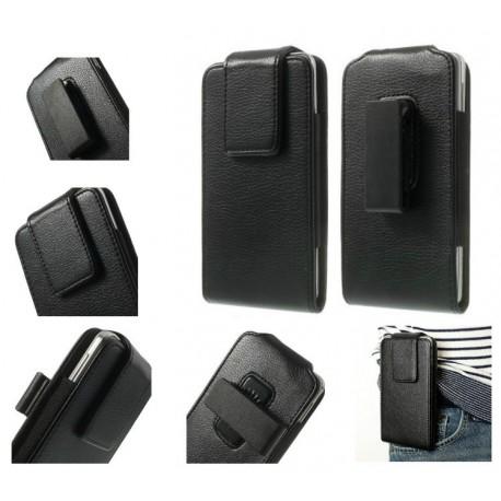 Funda cinturon con clip giratorio 360º piel sintetica para Tianhe W450 - Negra