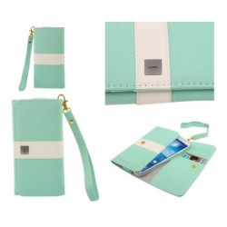 Funda premium diseño linea de color y tarjetero para - timmy e120l - verde Claro