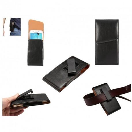 Funda Ejecutivo Cinturon clip Giratorio 360º poli piel para TIANHE I9377 - Negra
