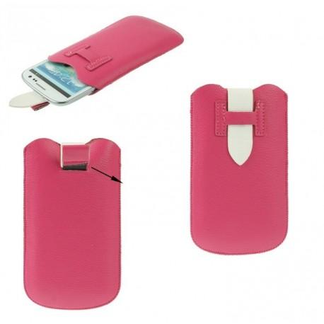 Funda poli piel con lazo extraccion y cierre de seguridad para timmy e120l rosa