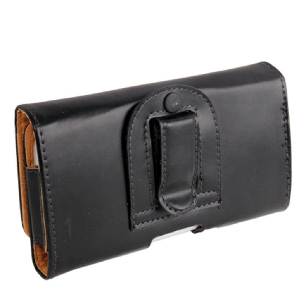 Case Holster belt clip smooth synthetic leather horizontal for Tecno Spark Go Plus (2020) - Black