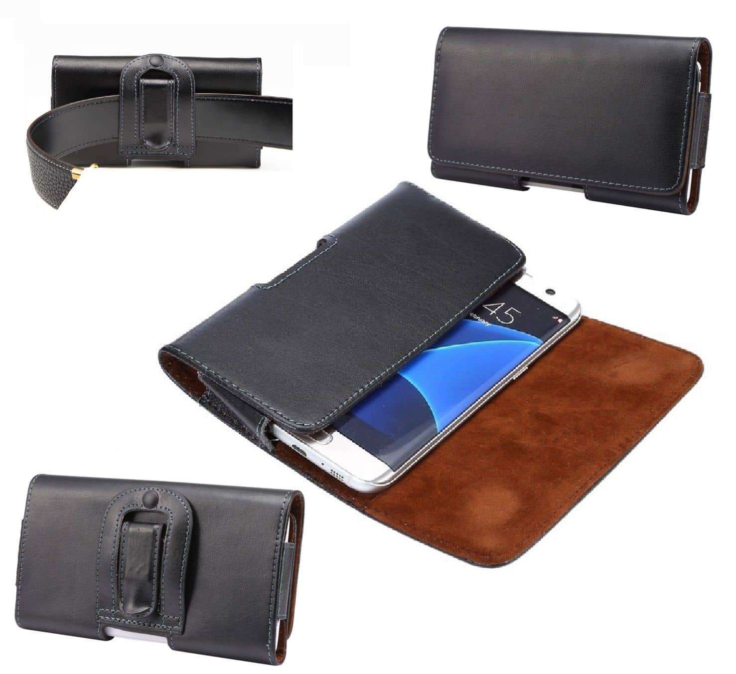 Case Belt Clip Genuine Leather  Horizontal Premium for ELEPHONE A2 (2019) - Black