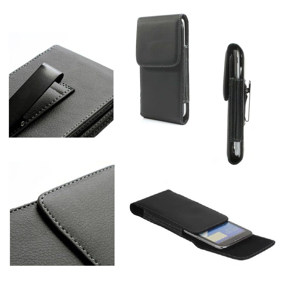 Leather Flip Belt Clip Metal Case Holster Vertical for HTC Wildfire E1 Plus (2019) - Black