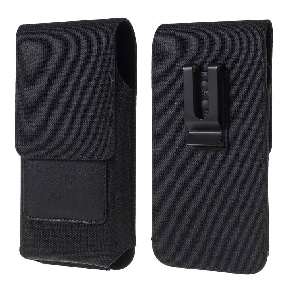 New Design Case Metal Belt Clip Vertical Textile and Leather for BQ Mobile BQ-6424L Magic O (2020) - Black