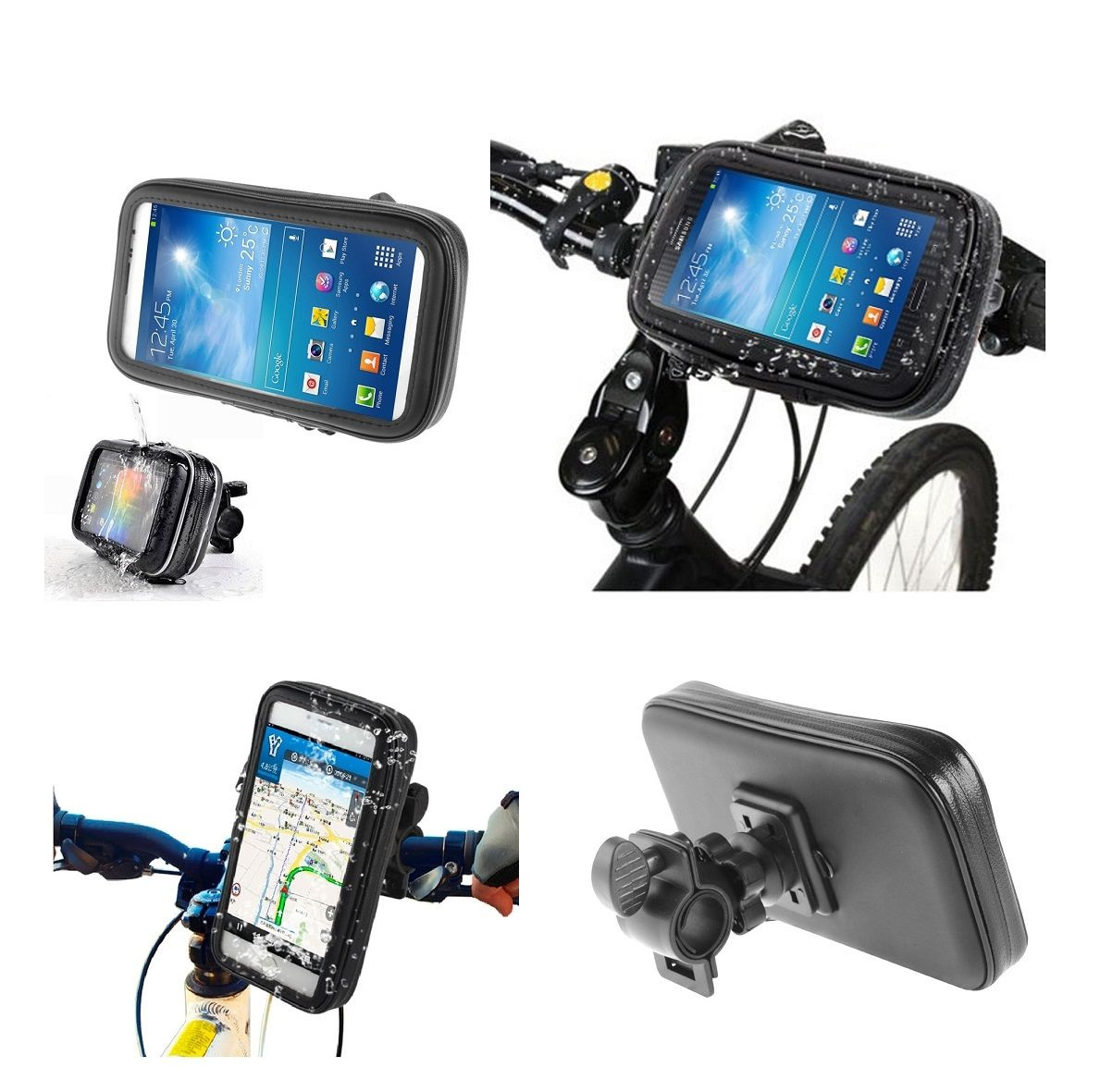 Professional Support for Bicycle Handlebar and Rotatable Waterproof Motorcycle 360º for Tecno Pop 2 Plus (2019) - Black
