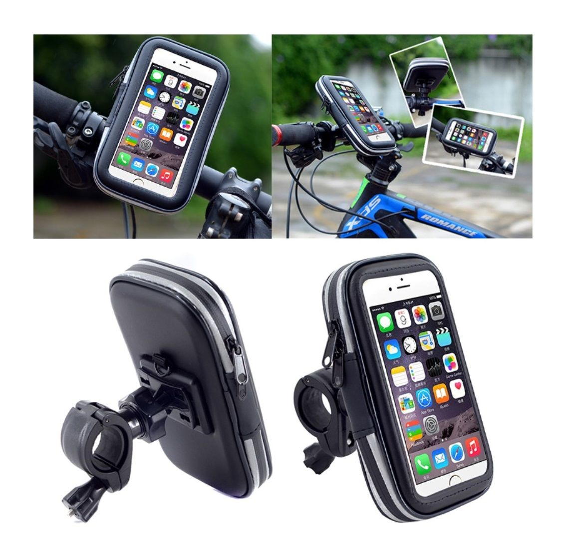 Professional Reflective Support for Bicycle Handlebar and Rotatable Waterproof Motorcycle 360 for Samsung Galaxy S20+ (2020) - Black