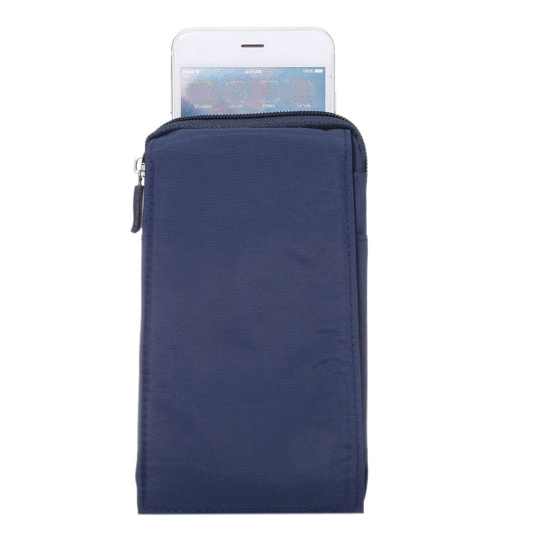 para-ALCATEL-ONE-TOUCH-A3-XL-Funda-Azul-Multiusos-XXM-18x10cm-Cinturon-Universal