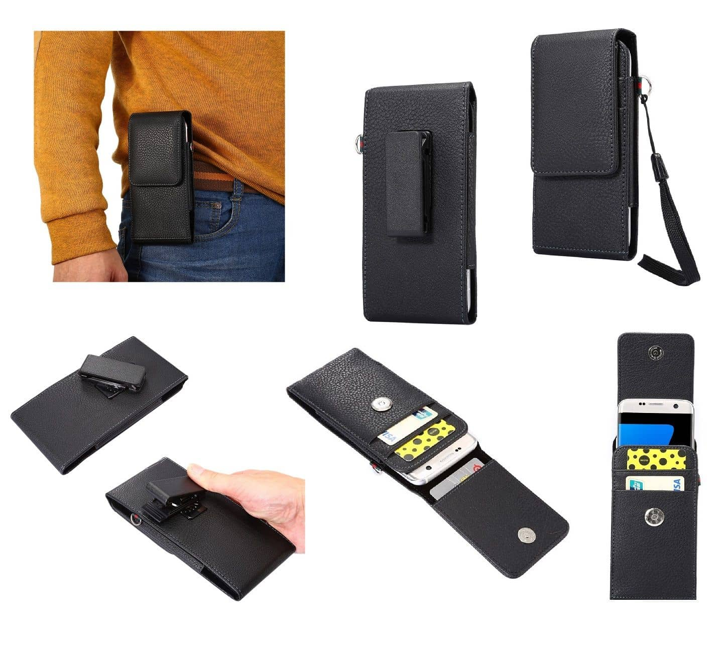 Magnetic leather Holster Card Holder Case belt Clip Rotary 360 for KYOCERA BASIO 4 (2020) - Black