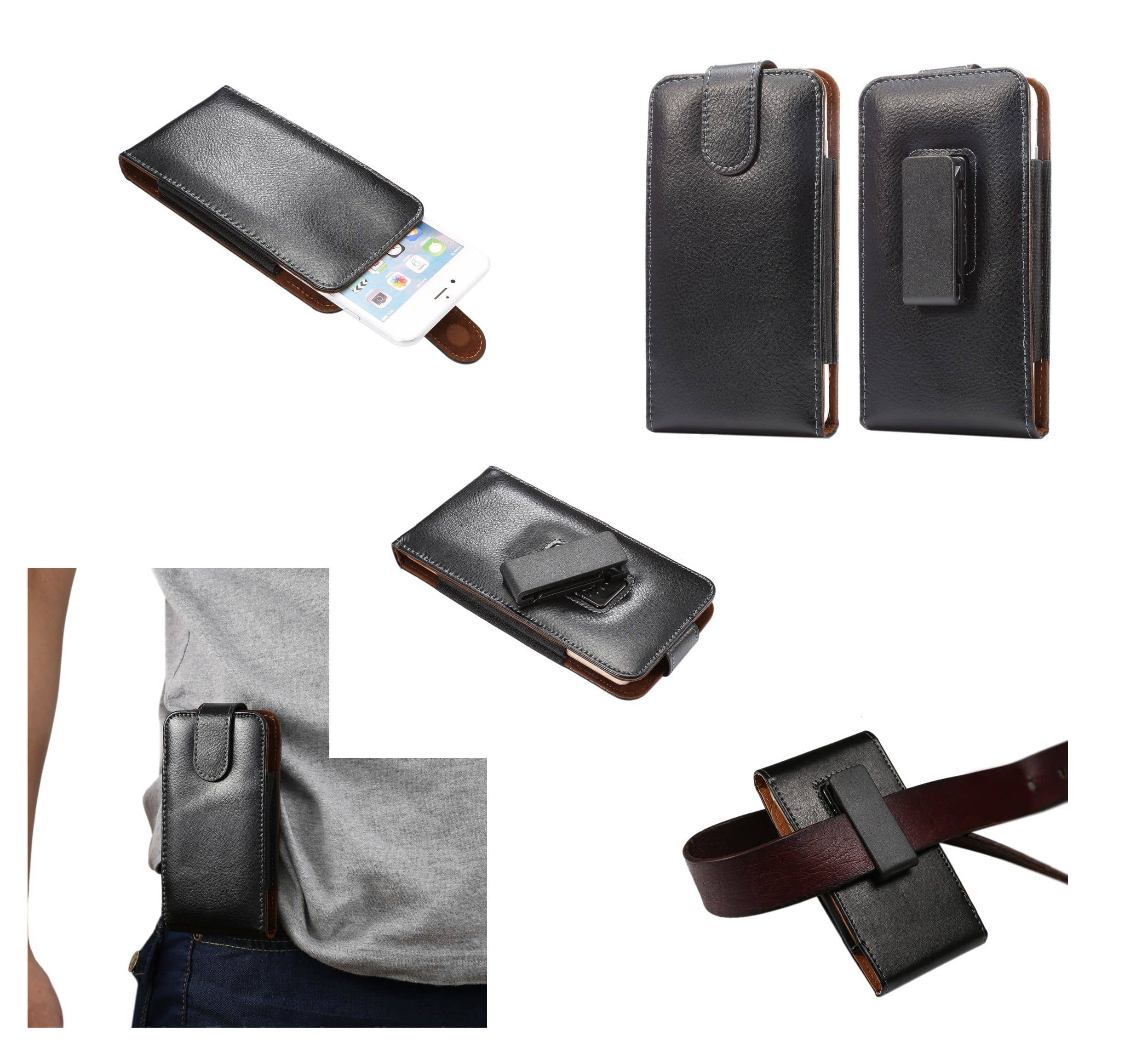 Magnetic Genuine Leather Holster Executive Case belt Clip Rotary 360 for QILIVE 5039D (2019) - Black