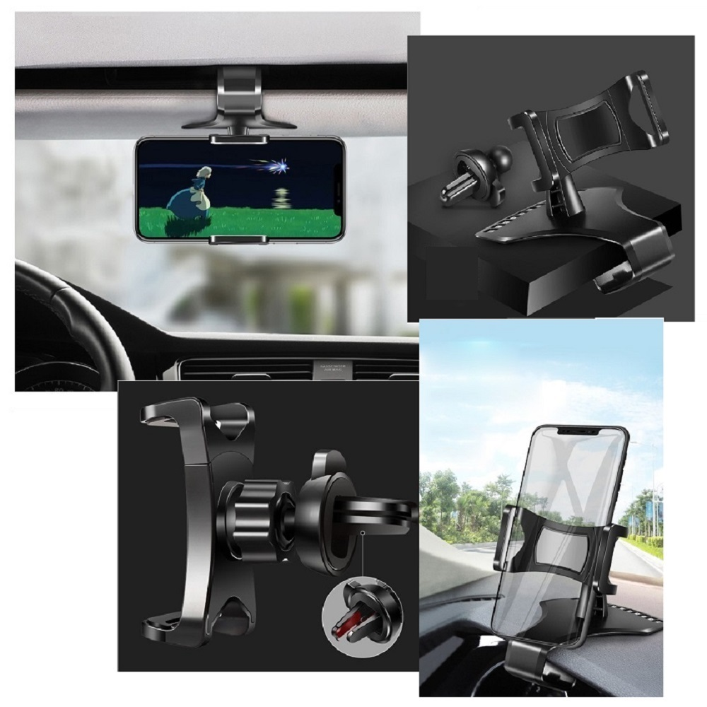 3 in 1 Car GPS Smartphone Holder: Dashboard / Visor Clamp + AC Grid Clip for Samsung Galaxy S20+ (2020) - Black