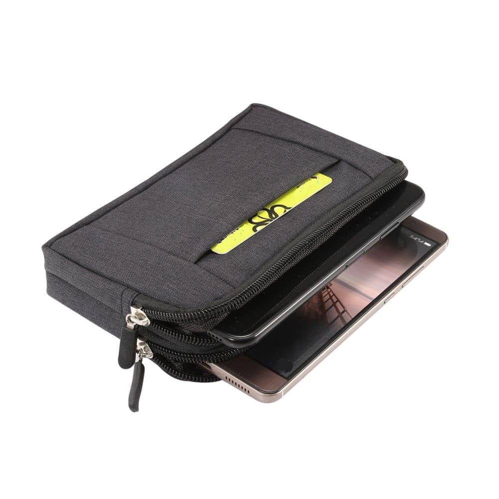 Multipurpose Horizontal Belt Case 2 Compartments Zipper for Blackview BV9600E