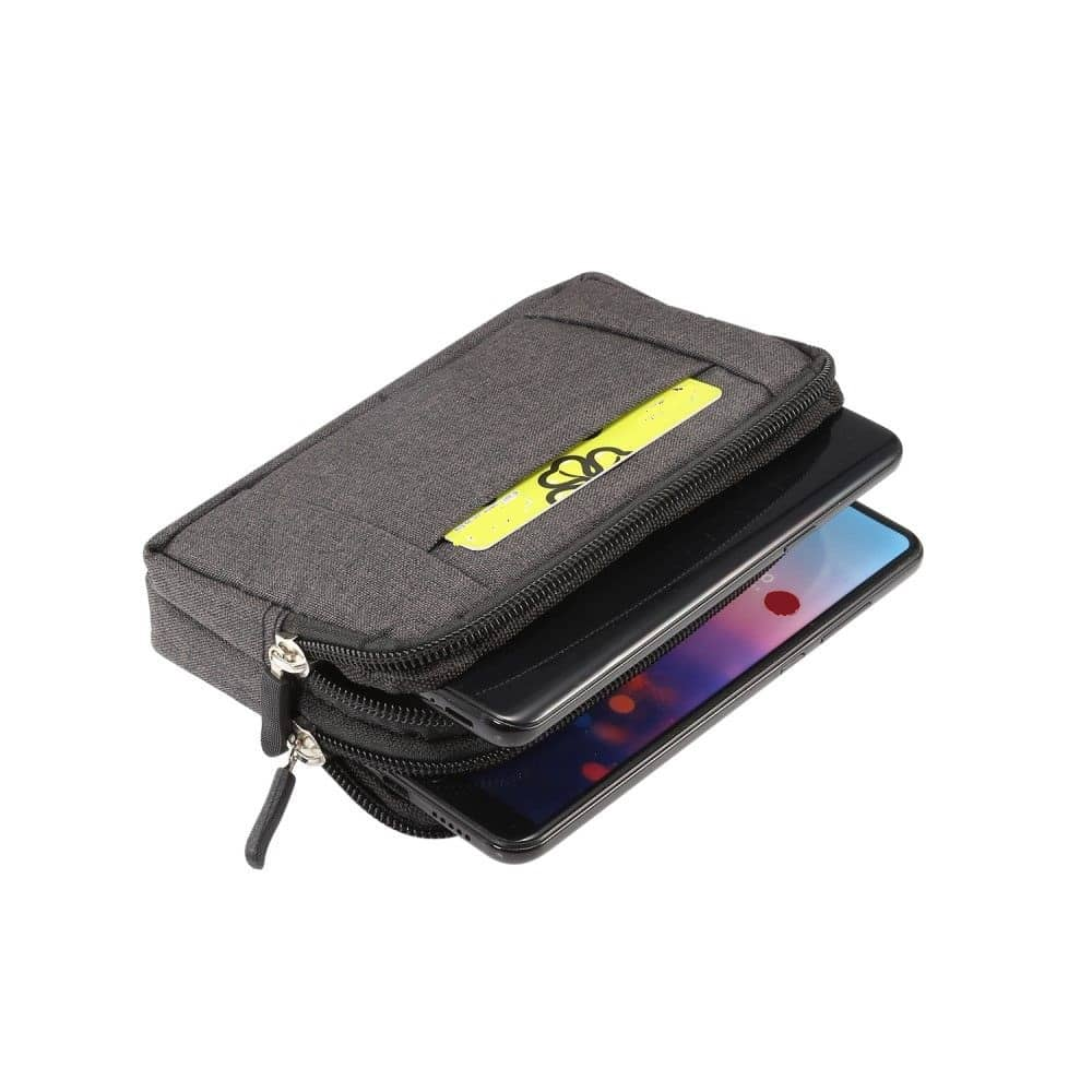 Multipurpose Horizontal Belt Case 2 Compartments Zipper for TEXET TM-5084 PAY 5 4G (2020)